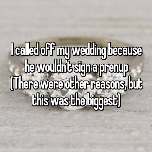 Reasons That People Cancelled Their Weddings prenup
