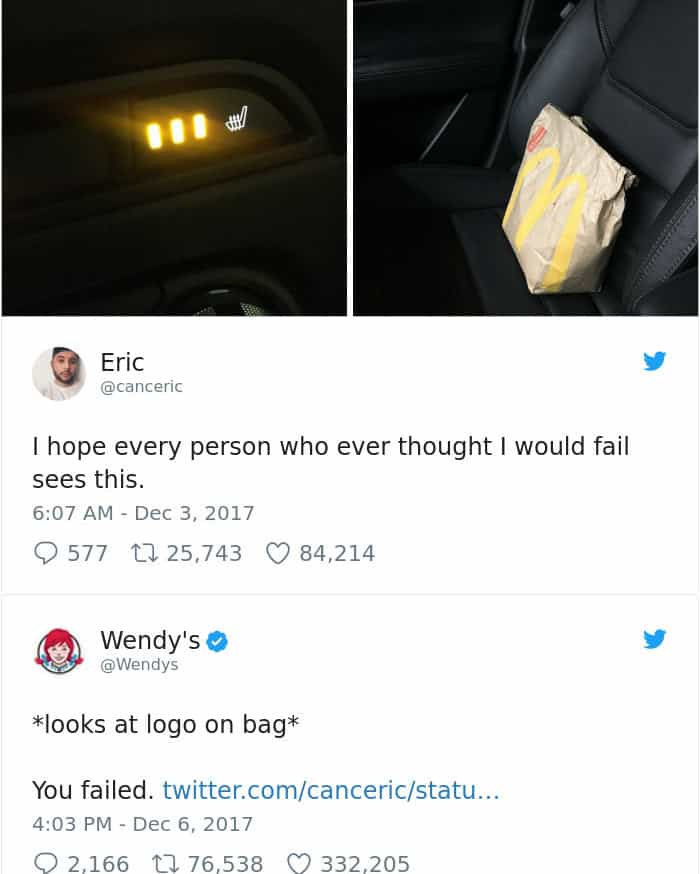Twitter Roasts By Wendy's seat warming food