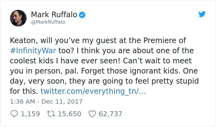 boy-cries-due-to-nasty-bullies-keaton-jones mark ruffalo infinity war