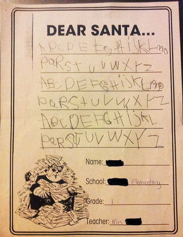 letters to santa abcdefg