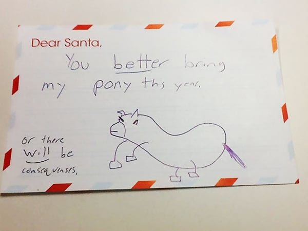 letters to santa you better bring my pony