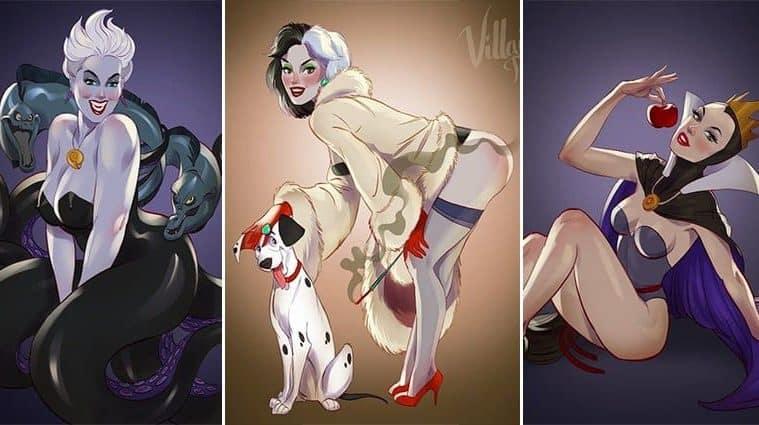Andrew Tarusov Re-Imagines Female Disney Villains As Pin Up Girls