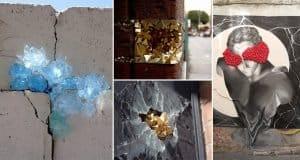 Artist Hides Crystallized Geode Installations In Wall Cracks To Brighten Up the Urban Atmosphere