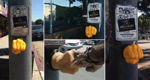 Guy Alters Pedestrian Crossing Button So You Have To Fist Bump To Cross The Road
