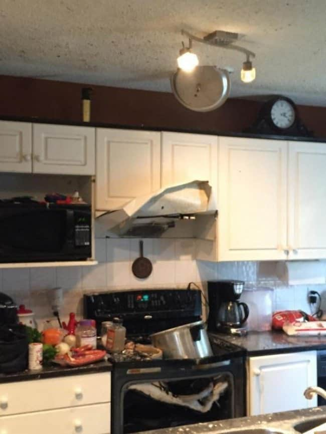 Kitchen Fails pot in ceiling