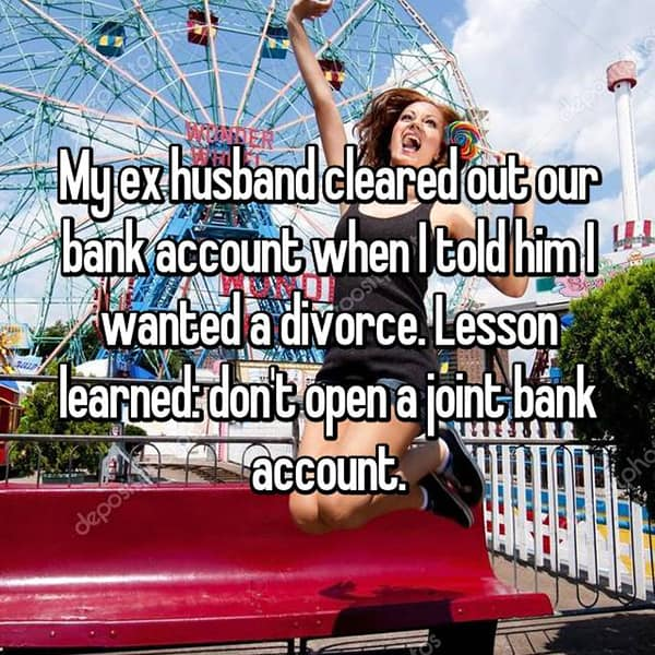 Lessons Learned From Past Relationships joint bank account