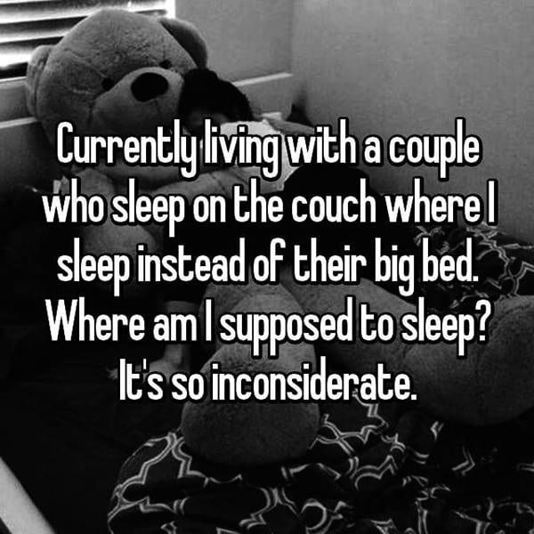 Living With A Couple sleep on the couch