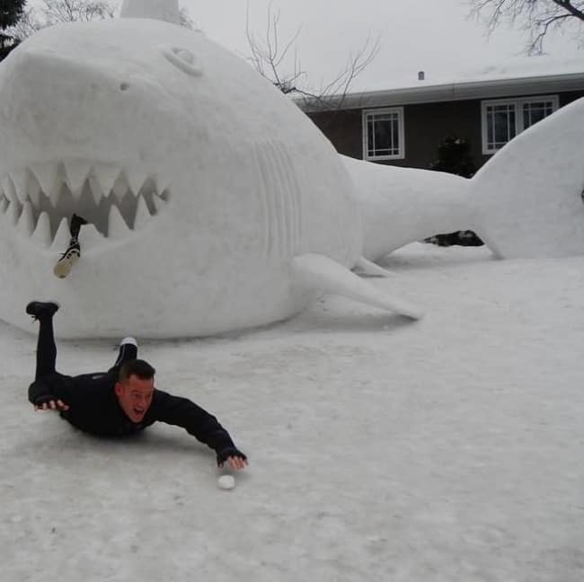 People Fantastic Sense Of Humor snow shark bite
