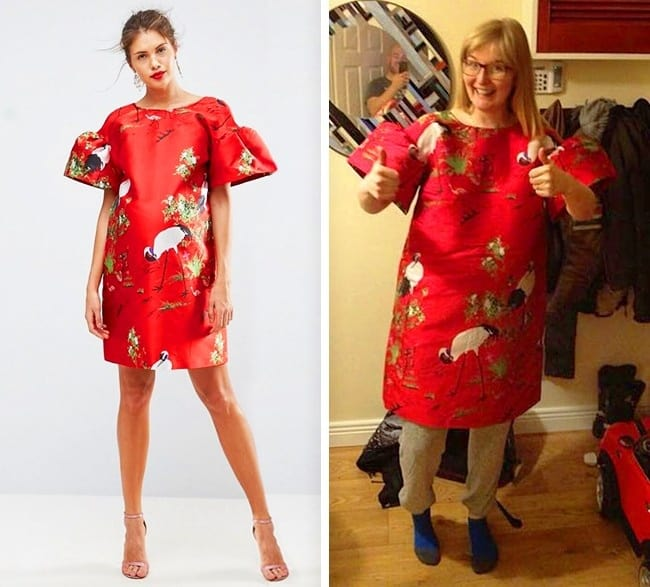 People Regretted Shopping Online fancy red dres