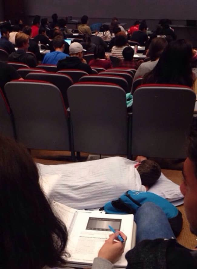People Who Clearly Do Not Give A Damn nap in lecture