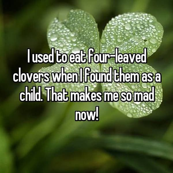 Strange Things They Ate As Children four leaved clovers