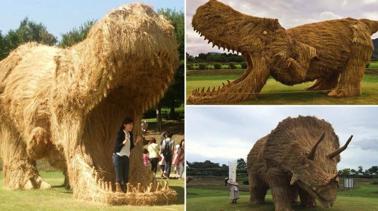 Straw Is Transformed Into Giant Dinosaurs