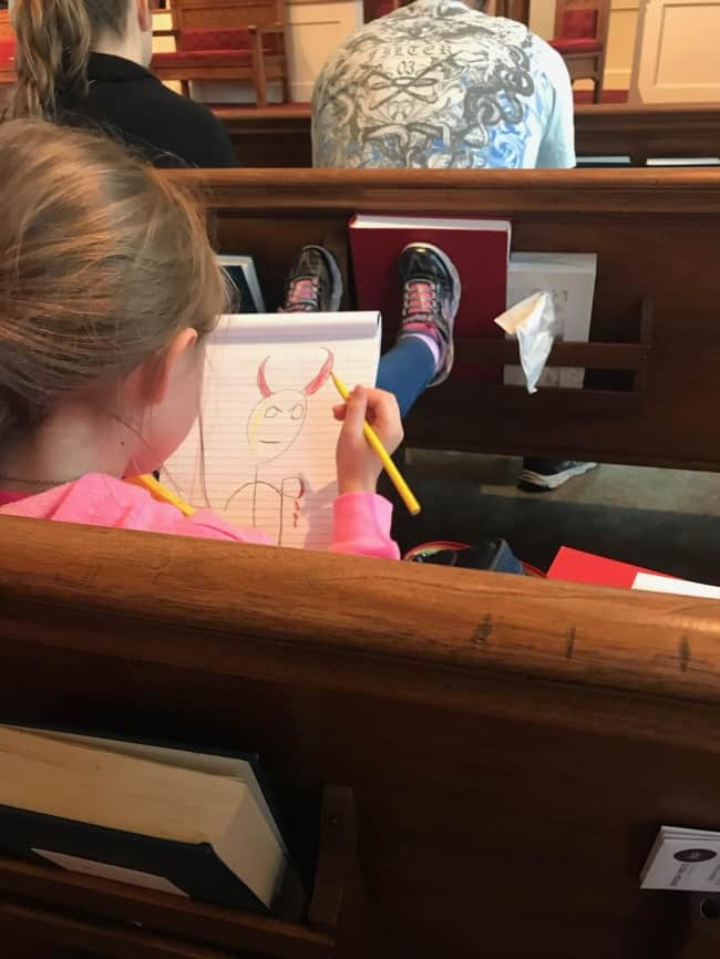drawing-in-church