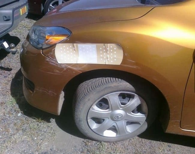 band-aid-used-to-repair-car