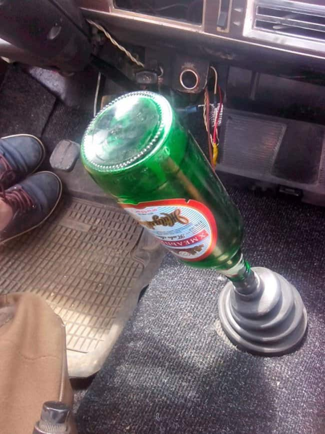 empty-bottle-used-as-a-gearstick