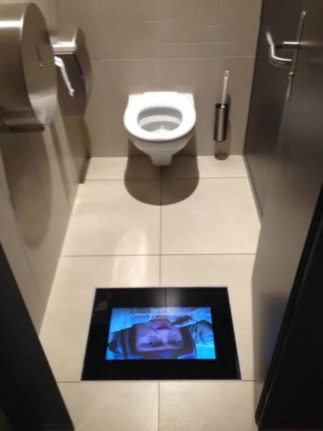 flat screen tv toilet floor