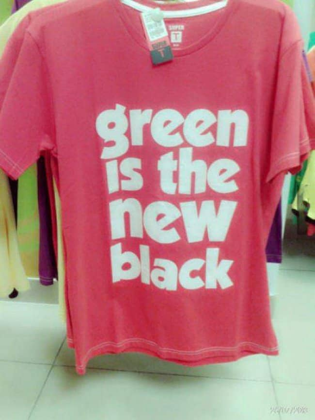 green_is_the_new_black_on_pink_shirt_funniest_epic_fails
