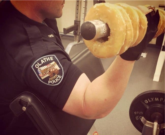 police_training_weight_lifting_donuts_self_irony