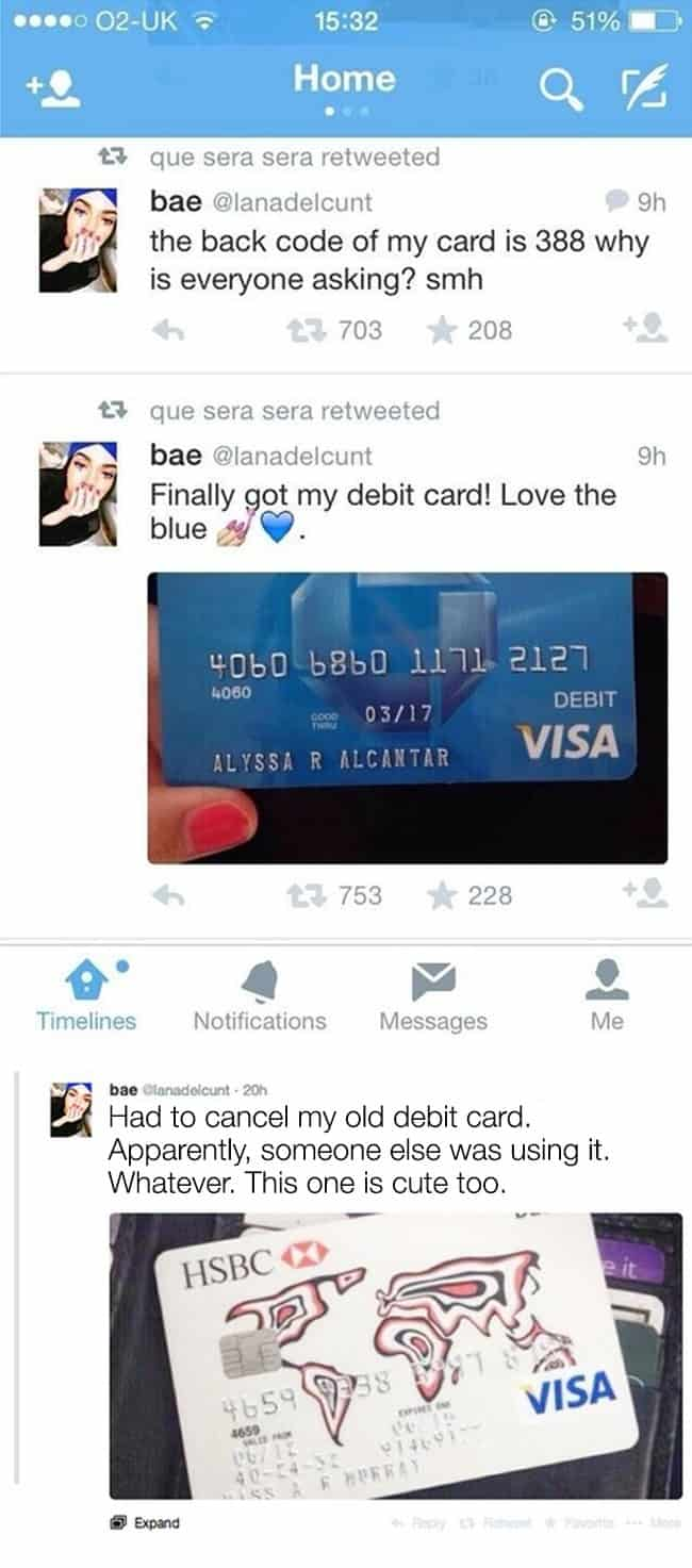 showing-off-visa-debit-card-on-twitter