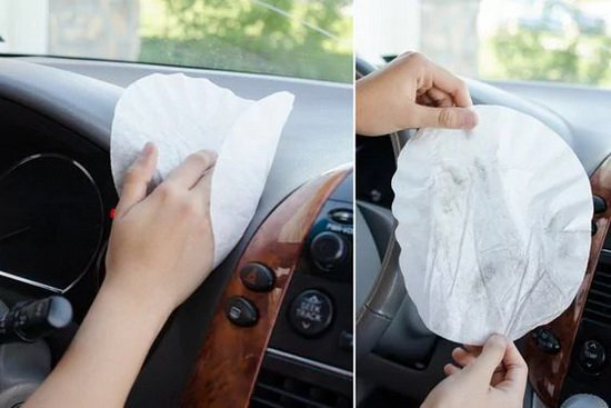 coffee-filters-to-clean-dashboard