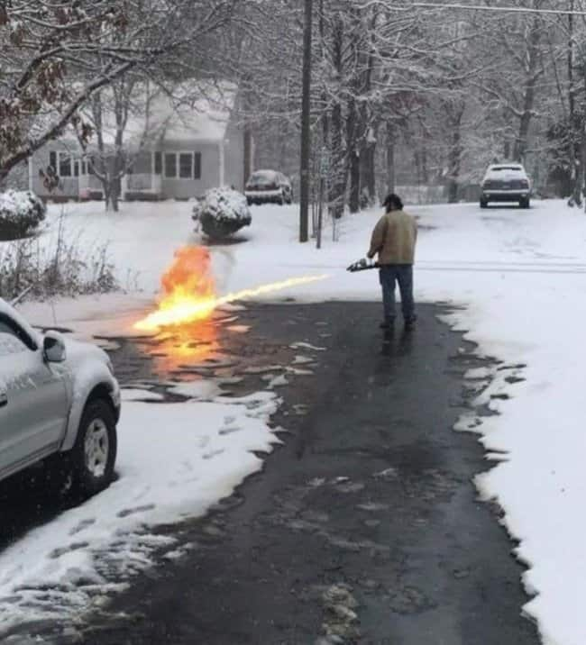 flame-thrower-to-melt-snow-funny-inventions