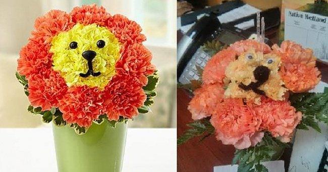 lion-face-flower-bouquet-in-a-pot