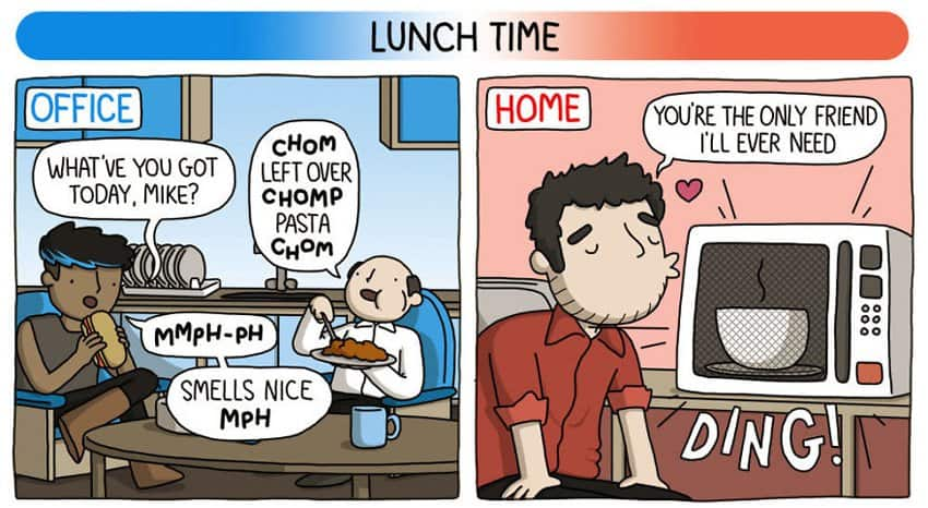Comics Depicts Differences Of Home Based Job Vs Office