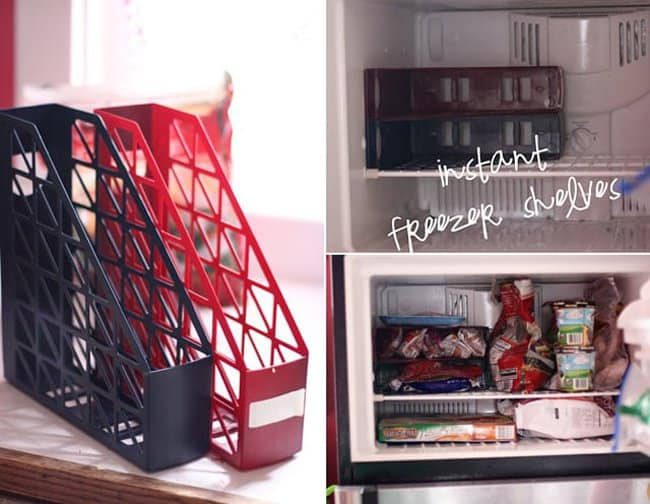 magazine-racks-for-extra-shelves-freezer-hacks