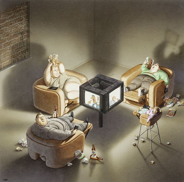 obese-family-watching-tv-satirical-illustrations