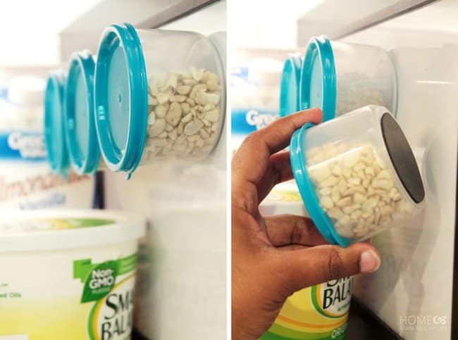 put-magnets-at-the-bottom-of-small-containers-freezer-hacks