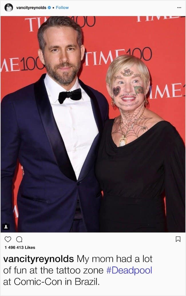 ryan-reynolds-mother-face-tattoo-hilarious-celebrity-instagram