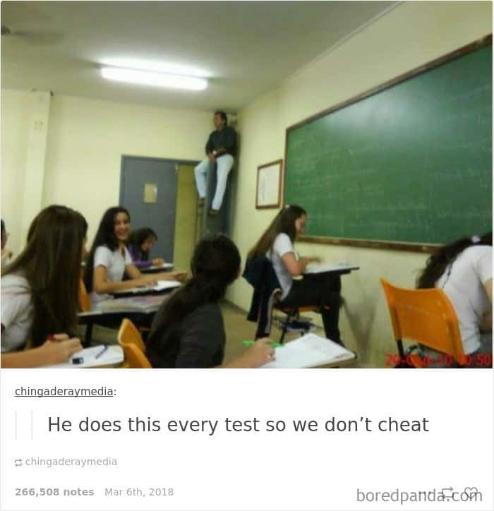 sitiing-on-top-of-a-closet-during-test-teachers-trolling-students