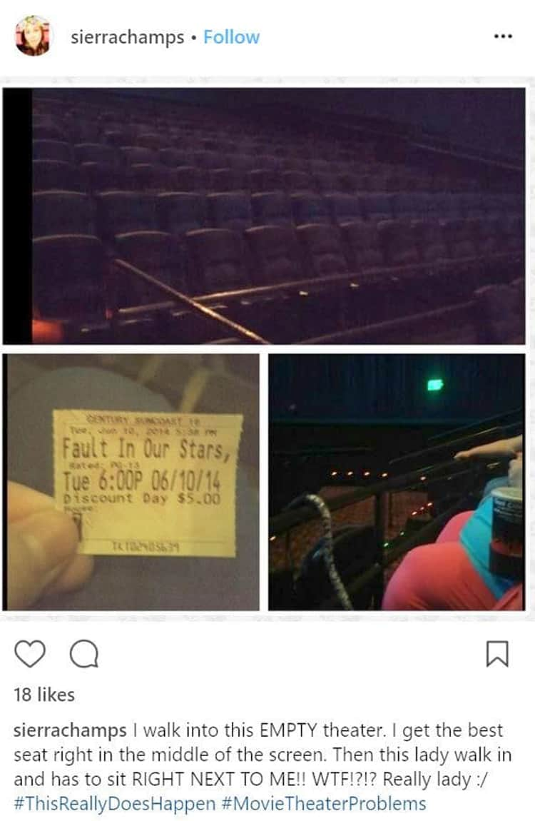 annoying lady in the empty theater room people banned from movie theaters
