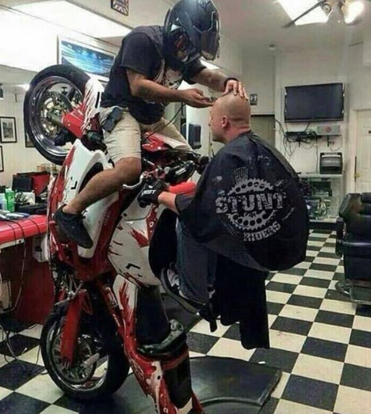 barber bike rider nonsensical photos