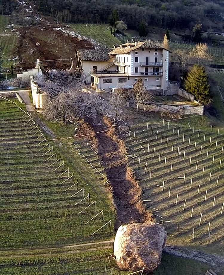 giant boulder wipes part of a house craziest close calls