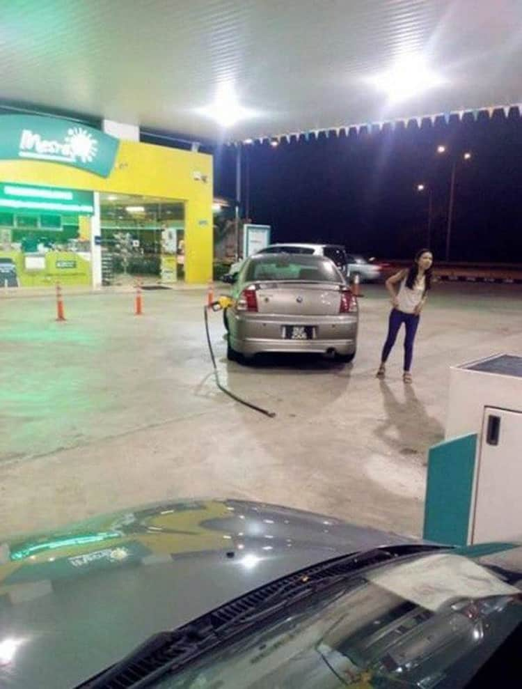 girl forgot gas pump on car stupid decisions