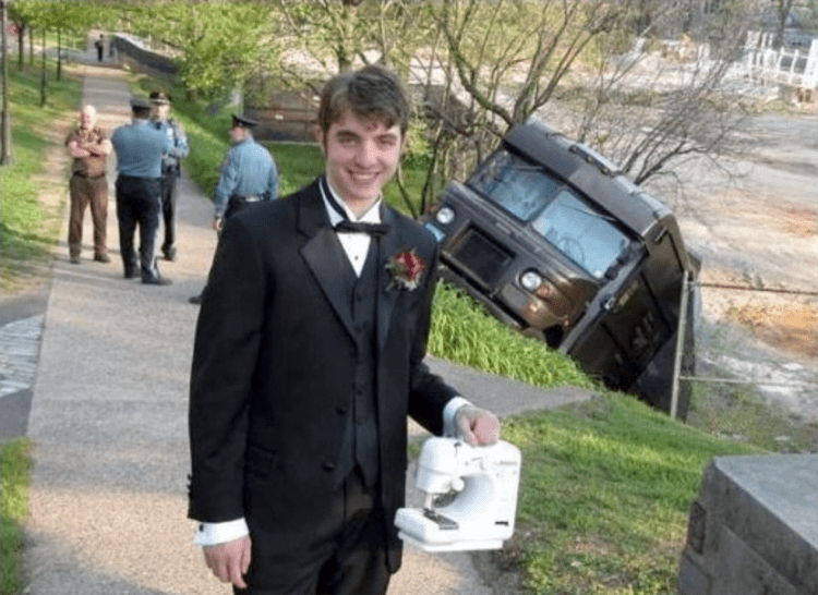 guy-formal-attire-holding-sewing-machine-nonsensical-photos