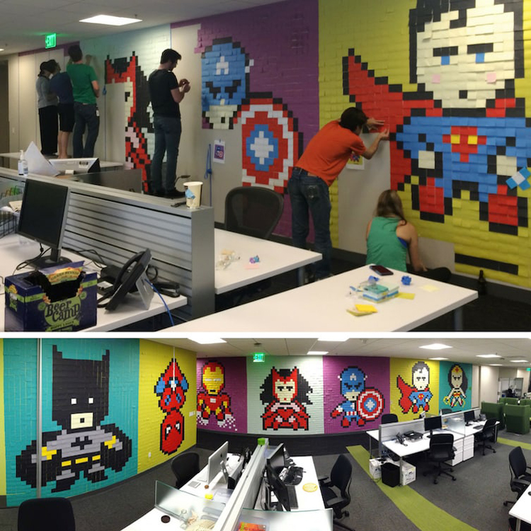 office-workers-wall-post-it-murals-silly-things-bored-people-do