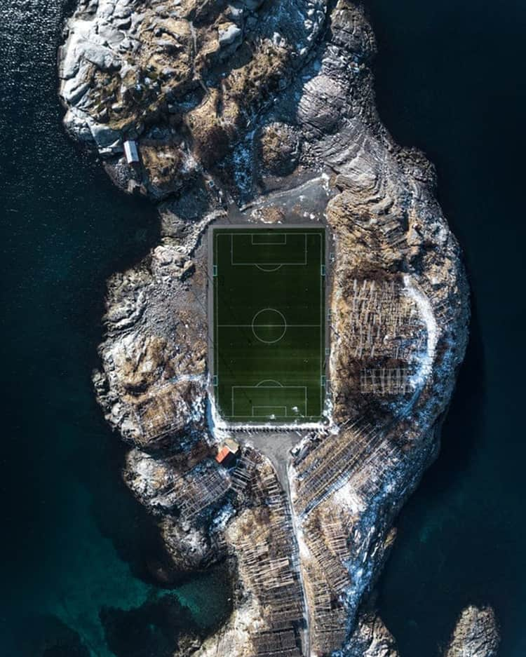 soccer-stadium on a rocky island coolest things