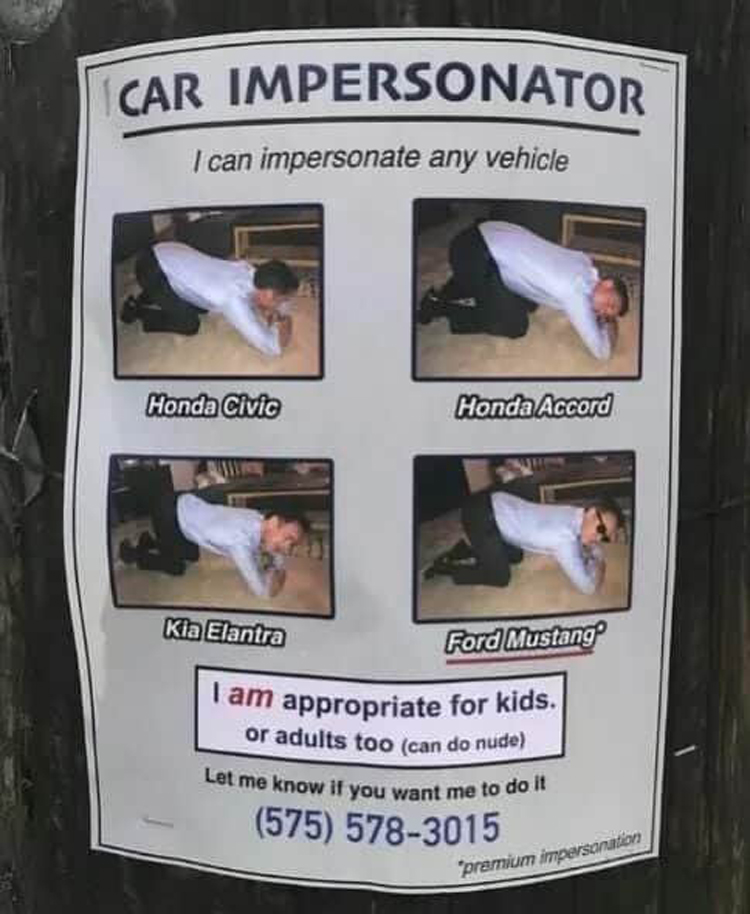 car impersonator hilariously unsettling photos