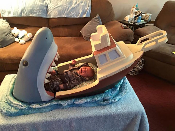 baby crying in shark bed
