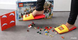 wearing lego slippers