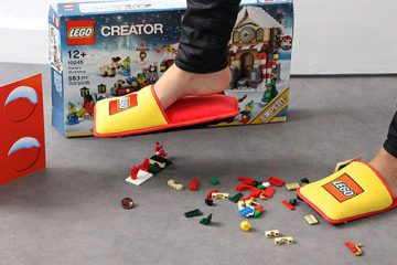 wearing lego slippers