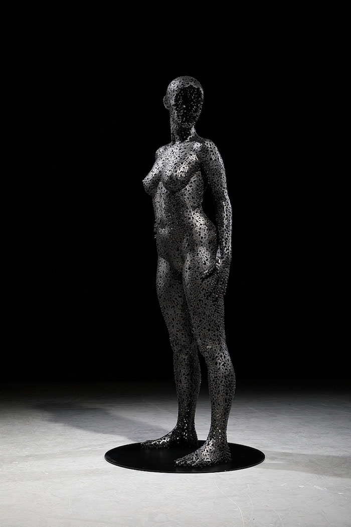 woman chain art standing