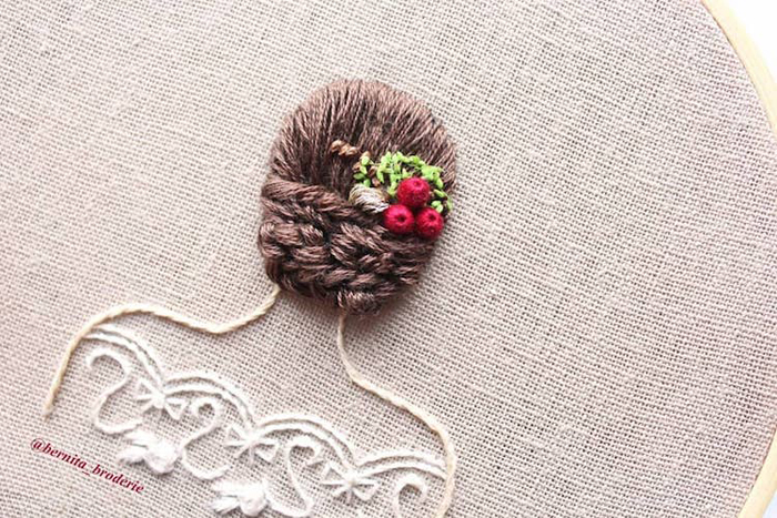 3d embroidery elegant updo