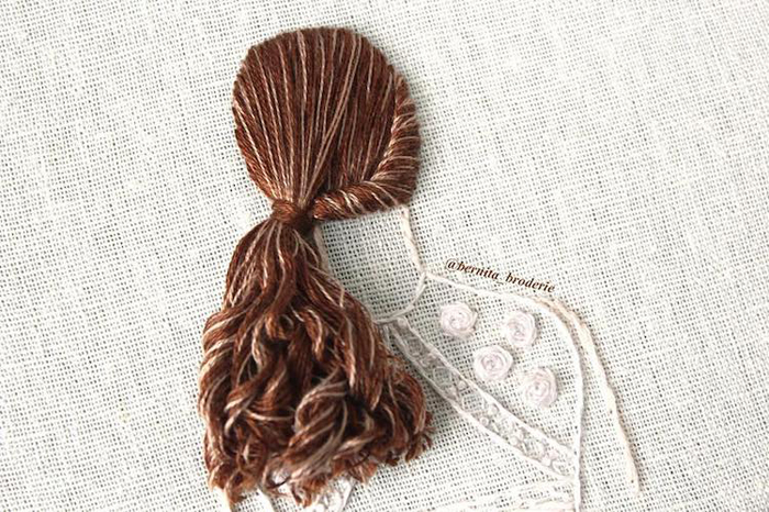 3d embroidery side ponytail