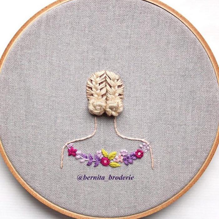 3d hair embroidery blonde braids
