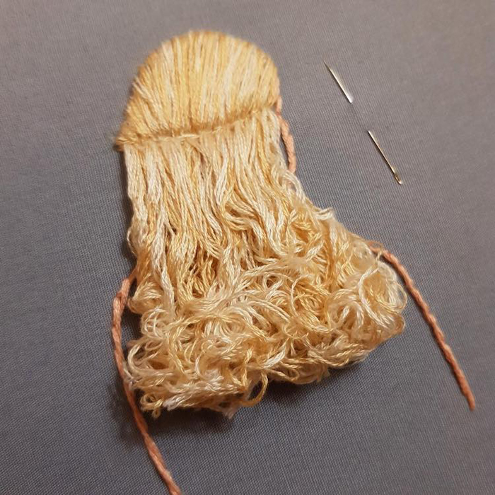 3d hair embroidery blonde