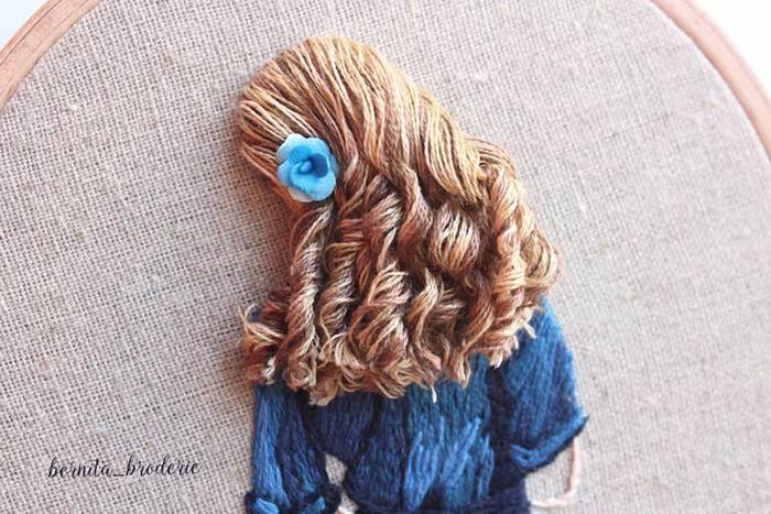 3d hair embroidery blue garment