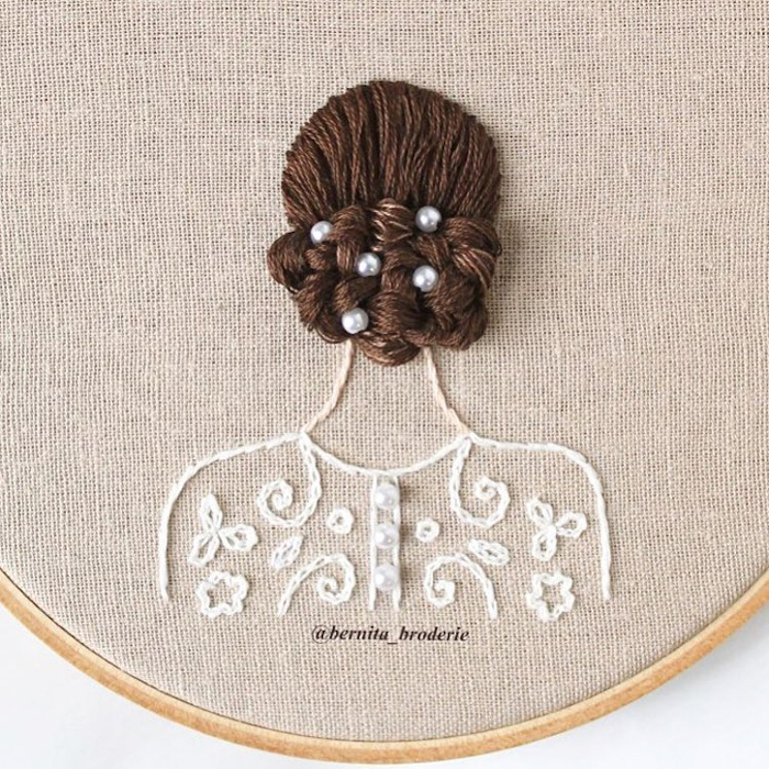 3d hair embroidery pearls